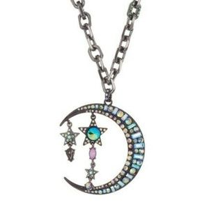 Betsey Johnson Moon & Star Pendant Necklace